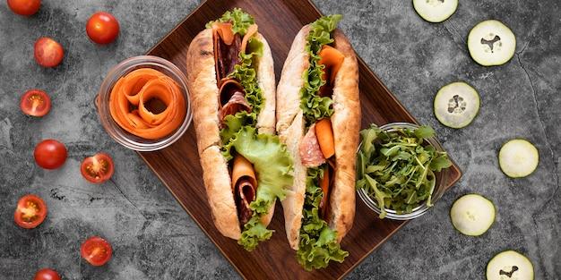 Draufsicht gesunde sandwiches zusammensetzung