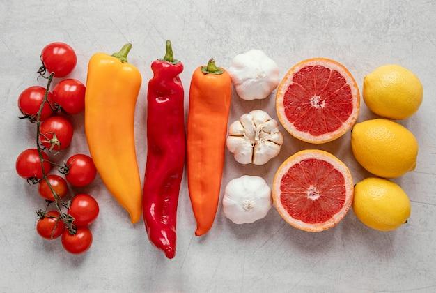 Draufsicht gesundes essen für immunität, die zusammensetzung erhöht