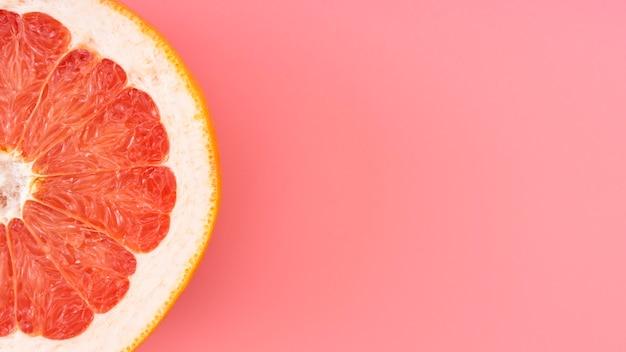 Draufsicht grapefruitrahmen mit kopierraum