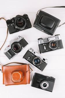 Draufsicht gruppe von kameras
