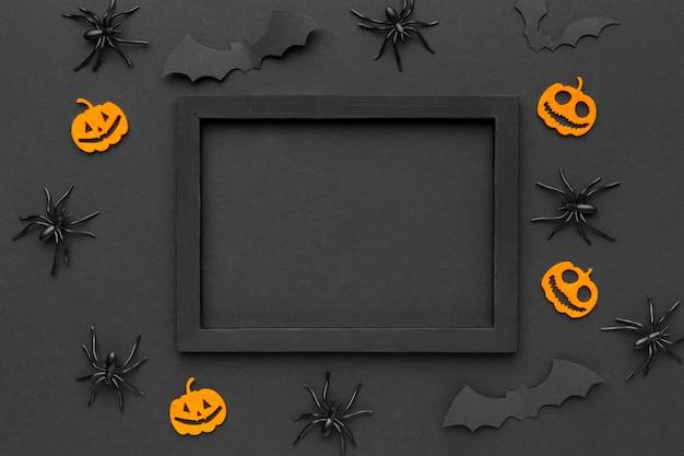 Draufsicht halloween-konzept mit rahmen