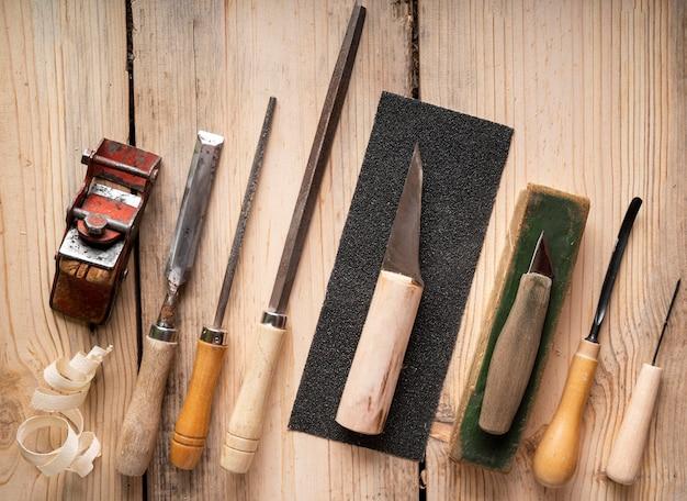 Draufsicht handwerker jobs ausrüstungssortiment