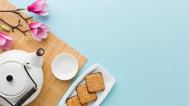 Draufsicht hausgemachte kekse mit kopierraum