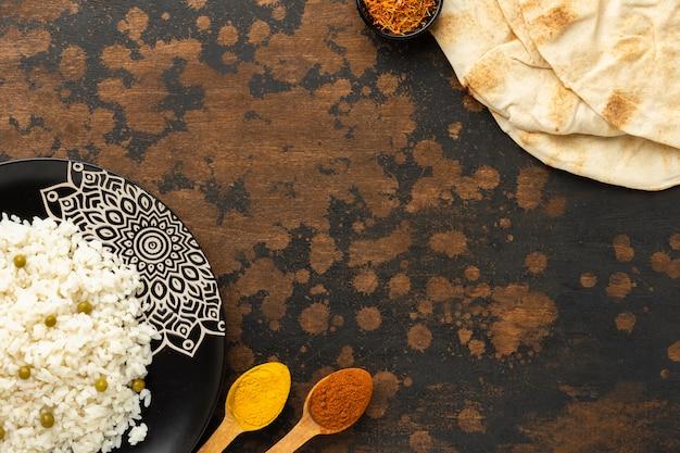 Draufsicht indischer nahrungsrahmen