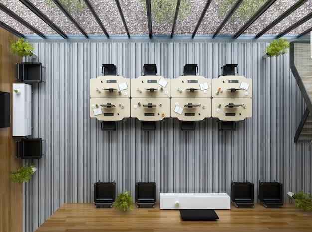 Draufsicht innen modernes großraumbüro 3d-darstellung