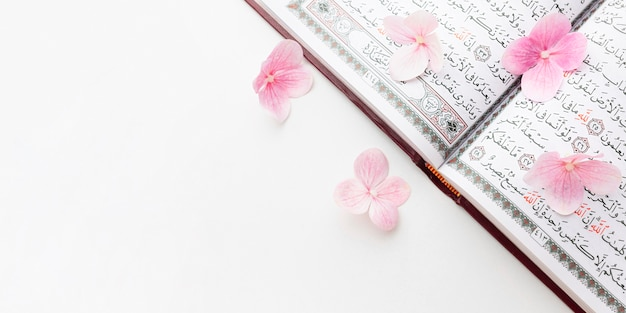 Draufsicht islamisches neujahrskonzept mit kopienraum