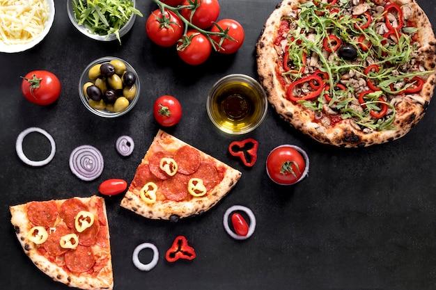Draufsicht italienisches nahrungsmittelsortiment