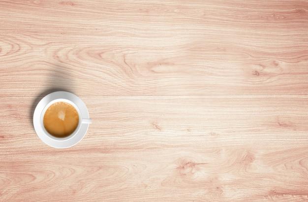 Draufsicht kaffeetasse tassen auf holztisch isoliert