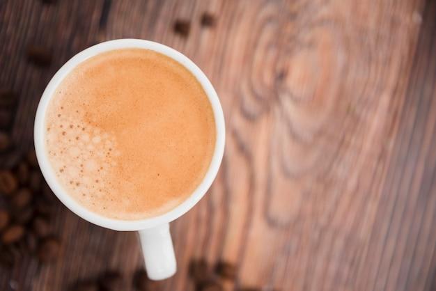 Draufsicht kaffeetasse