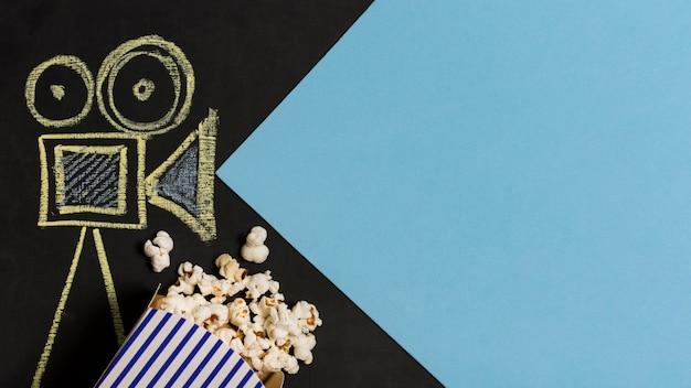Draufsicht-kamera zeichnen mit popcorn