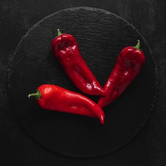 Draufsicht kapia süße paprika