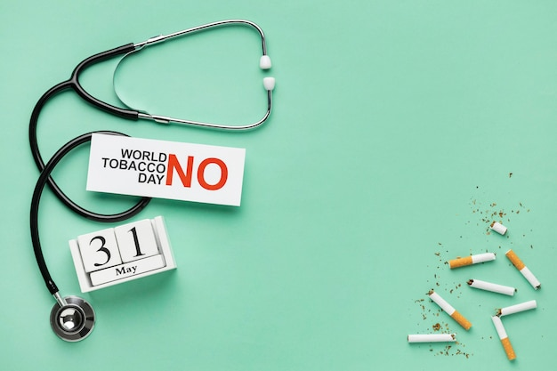 Draufsicht kein tabak tag elemente sortiment