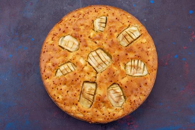 Draufsicht köstliche apfelkuchenrunde geformt süß und gebacken auf der dunklen oberfläche süß backen gebäckkuchen kuchen tee