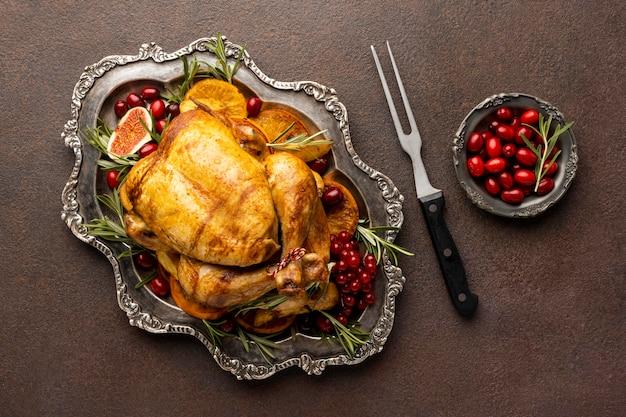 Draufsicht köstliche weihnachtsessenanordnung