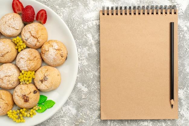 Draufsicht köstliche zuckerkekse innerhalb platte auf weißem schreibtischzuckerplätzchen süßer keksteekuchen