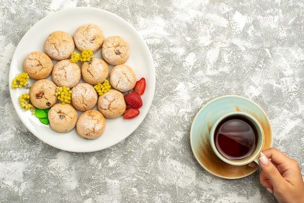 Draufsicht köstliche zuckerkekse mit tasse tee auf weißem hintergrundplätzchenkekszuckerkuchen süßer tee