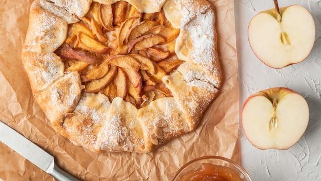 Draufsicht köstlicher apfelkuchen