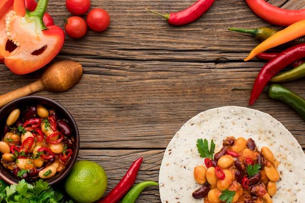 Draufsicht köstliches mexikanisches essen bereit, serviert zu werden