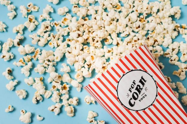 Draufsicht köstliches popcorn