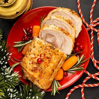 Draufsicht köstliches weihnachtsgericht