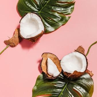 Draufsicht-kokosnüsse mit monstera-pflanze