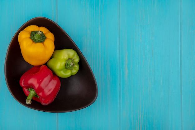 Draufsicht kopieren raum farbige paprika in der schüssel auf türkisfarbenem hintergrund