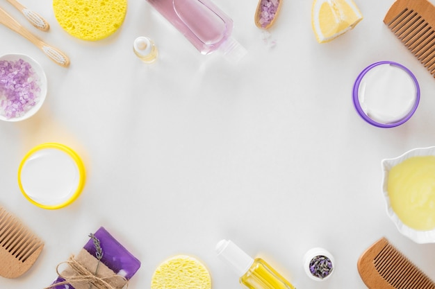 Draufsicht kopieren raumschönheits- und gesundheits-spa-konzept