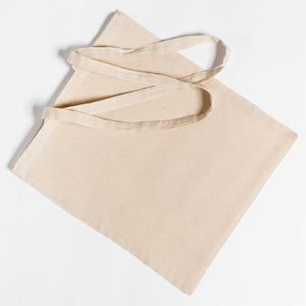 Draufsicht kopierraum stoff einkaufstasche