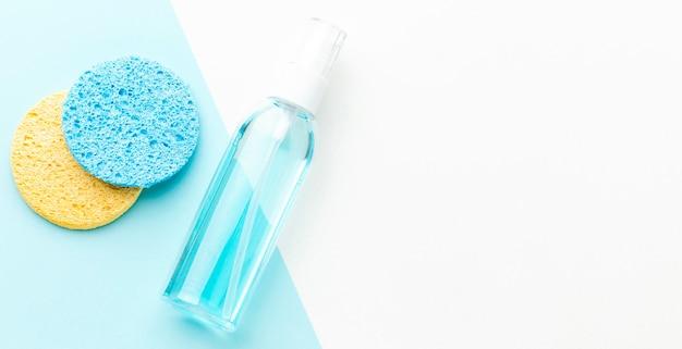 Draufsicht kosmetikprodukt mit kopierraum