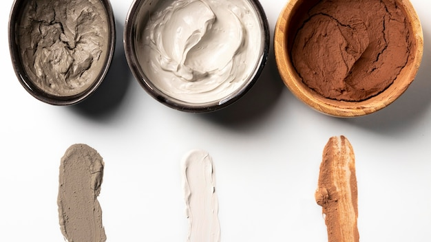 Draufsicht kosmetische zusammensetzung in verschiedenen farben
