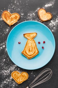 Draufsicht krawatten geformter pfannkuchen