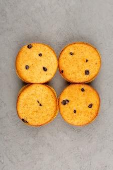 Draufsicht kuchen leckere leckere runde auf dem grau