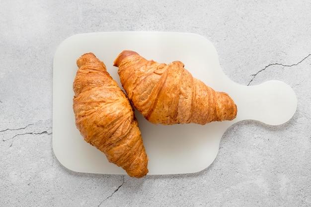 Draufsicht leckere croissants
