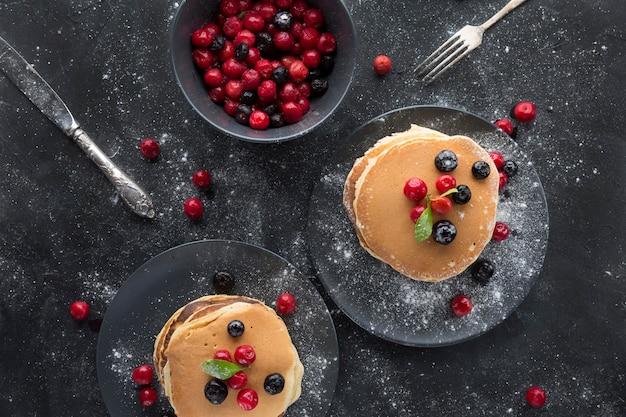 Draufsicht leckere pfannkuchen