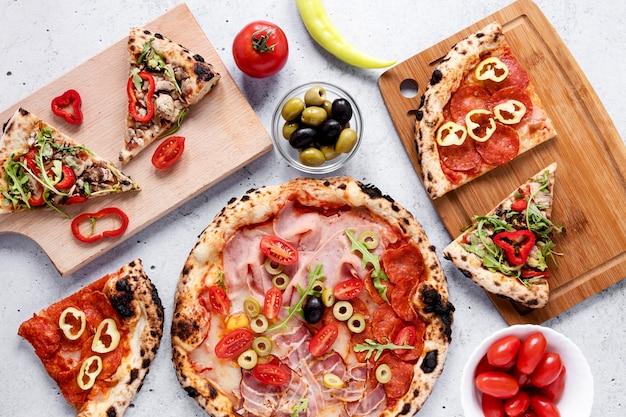Draufsicht leckeres essen arrangement