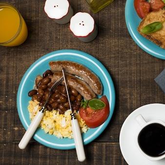 Draufsicht leckeres frühstück