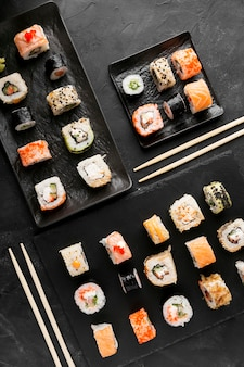 Draufsicht leckeres sushi