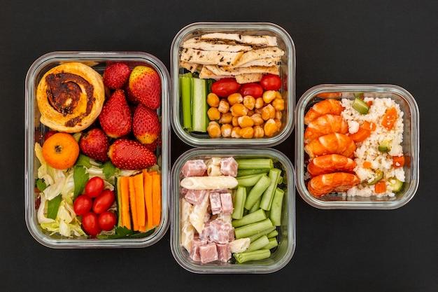 Draufsicht leckeres verpacktes essen