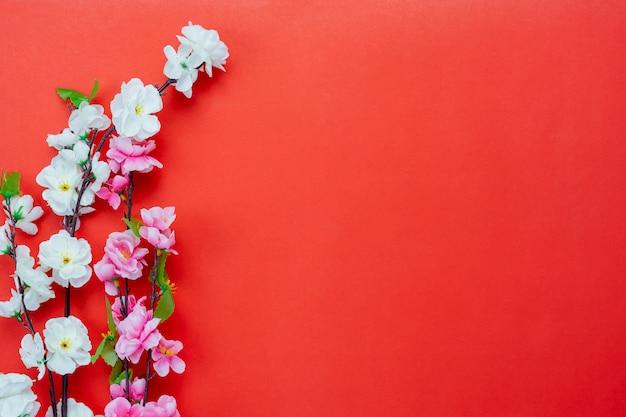 Draufsicht luftbild schoss vom chinesischen feiertag des neuen jahres der anordnungsdekoration u. des mondfeiertags.