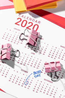 Draufsicht markiert kalenderchef tag