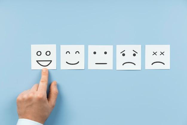 Draufsicht mit unterschiedlichen gefühlen