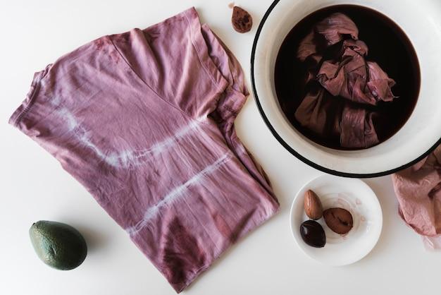 Draufsicht natürliche pigmentanordnung mit rohen elementen gemacht