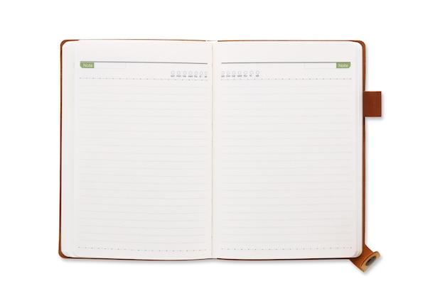 Draufsicht offenes braunes ledernotizbuch oder tagebuch isoliert und weißer hintergrund mit beschneidungspfad