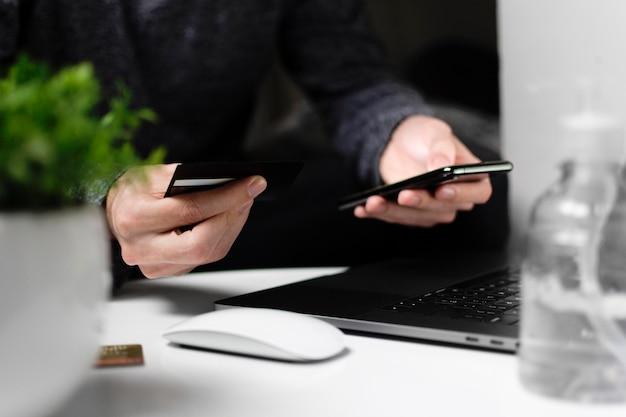 Draufsicht online-shopping-konzept