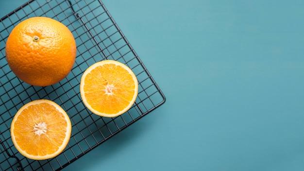 Draufsicht organische orangen mit kopierraum