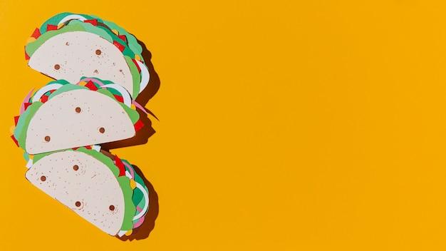 Draufsicht papier tacos rahmen