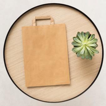 Draufsicht papiertüte zum einkaufen