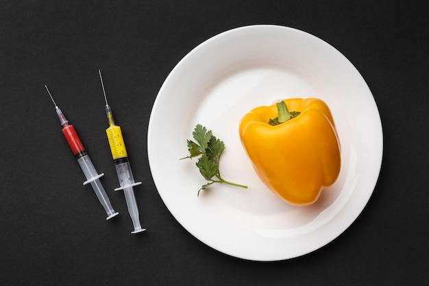 Draufsicht paprika und spritzen