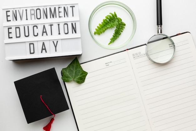 Draufsicht pflanzen und notizbuch