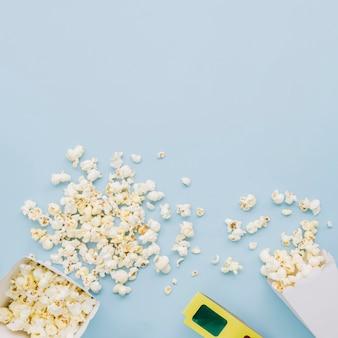 Draufsicht popcorn mit kopierraum
